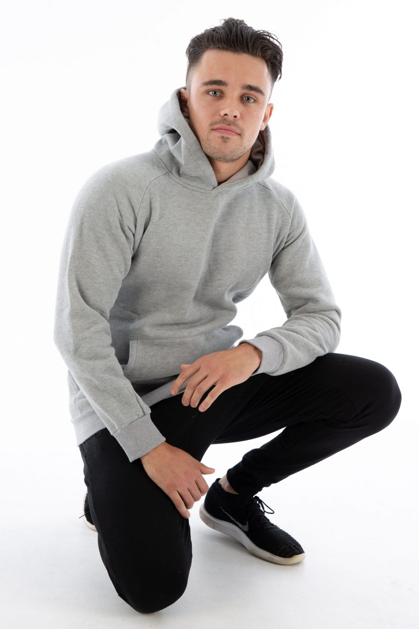 Gymfuse Grey Muscle Hoodie crouch