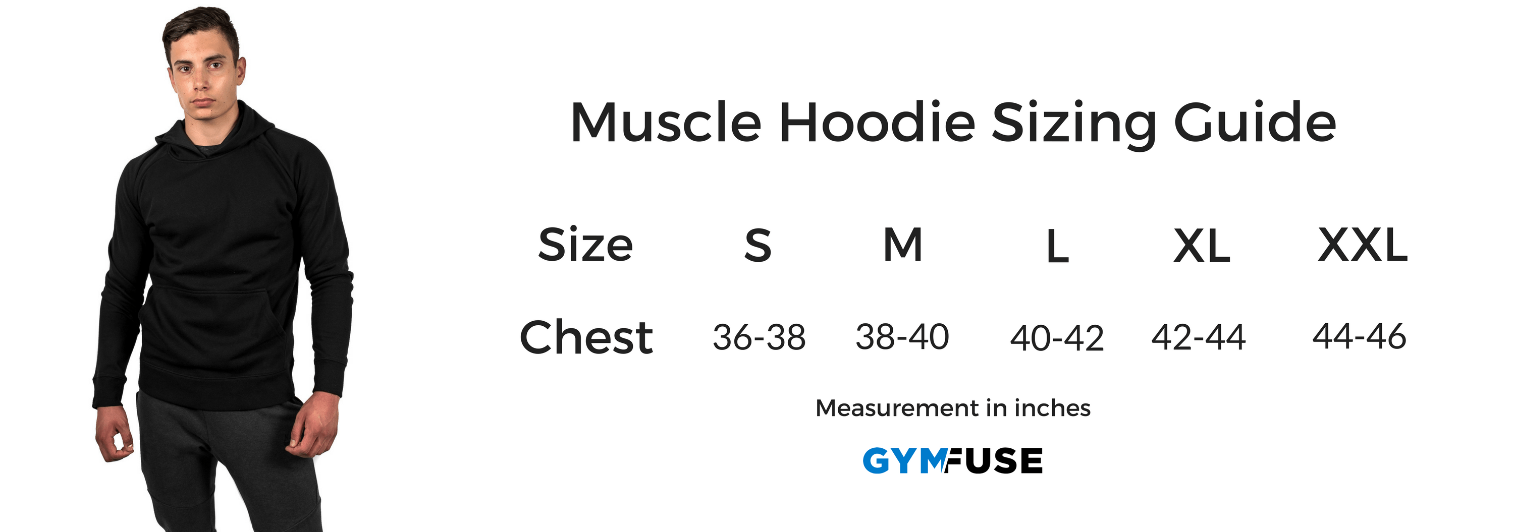 Muscle Hoodie Size Chart