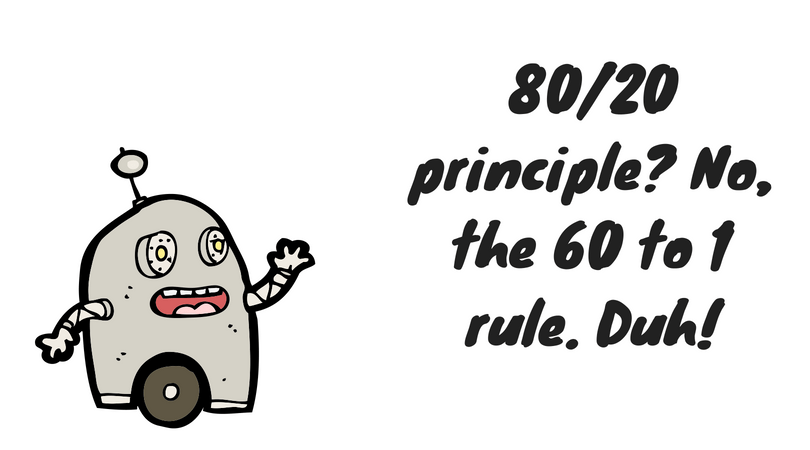 80/20 principle? No, the 60 to 1 rule. Duh!
